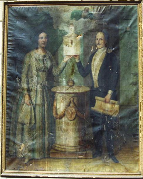 <p>Marele vornic Dimitrie Cantacuzino-Pașcanu şi soția sa, Pulcheria, înfăţişaţi drept ctitori ai bisericii într-un tablou în ulei din sec. al XIX-lea.</p>